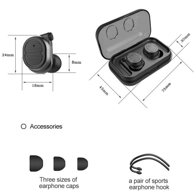 Teqitech Wireless Earphone Bluetooth 5.0 Earbuds Touch Control Waterproof Earphones with Charging Box for Smart Phone
